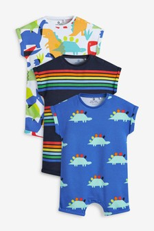 3 Pack Dinosaur Stripe Rompers (0mths-3yrs)