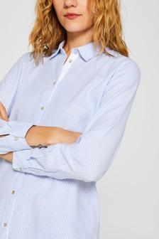 Esprit White/Blue Striped Oxford Blouse