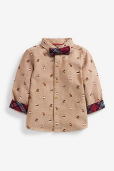Christmas All Over Print Long Sleeve Shirt and Bow Tie Set (3mths-7yrs)