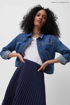 French Connection Blue Robyn Recycled Cropped Denim Jacket