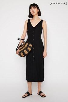 Warehouse Black Pique Button Through Dress
