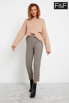 F&F Cream Step Hem Check Trousers