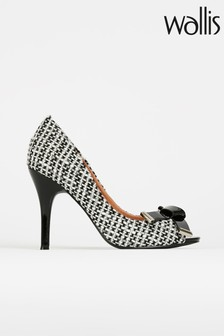 Wallis Celestia Black/White Folded Bow Peep-Toe Court Shoes