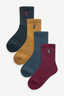 4 Pack Cotton Rich Embroidered Boot Socks (Older)