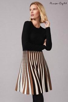 Phase Eight Multi Eylsa Pleated Stripe Knit Dress