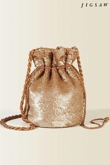 Jigsaw Cream Sequin Drawstring Bag