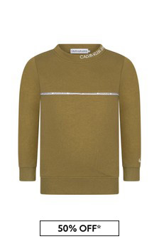 Calvin Klein Jeans Boys Khaki Cotton Sweat Top