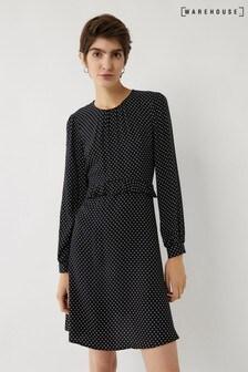 Warehouse Black Pinspot Ruffle Mini Dress