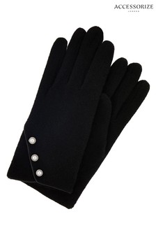 Accessorize Black Pearl Button Wool Gloves