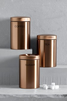 Set of 3 Copper Effect Storage Tins