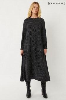 Warehouse Black Pinspot Tiered Midi Dress