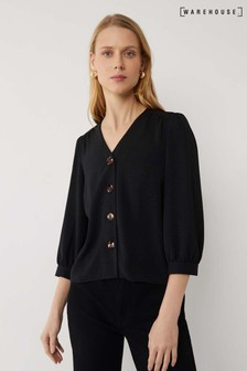 Warehouse Black Button Front Top