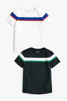 2 Pack Short Sleeve Chest Stripe T-Shirts (3-16yrs)