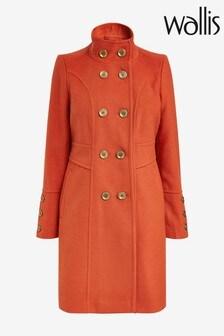 מעיל צמר עם רכיסה כפולה של Wallis דגם Faux בצבע חלודה