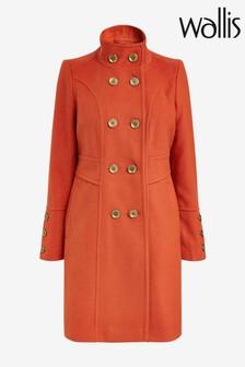 Wallis Rust Faux Wool Double Breasted Coat