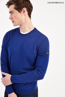 Emporio Armani Blue Jumper With Arm Logo
