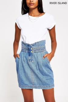 River Island Denim Mini Waisted Skirt