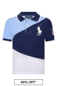 Ralph Lauren Boys Navy Multi Cotton Polo Top