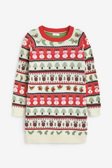 Snowman Pattern Jumper Dress (3-16yrs)