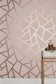 Paste The Wall Blush Metallic Geo Wallpaper