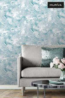 Muriva Teal Elixir Marble Wallpaper