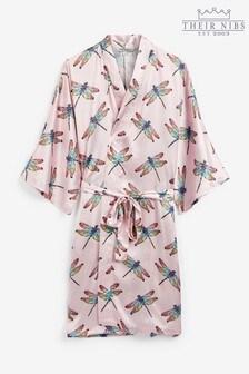 Their Nibs Pink Dragonfly Print Satin Kimono