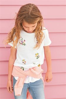 Floral Knot Front Short Sleeve T-Shirt (3-16yrs)