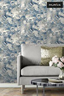 Muriva Blue Elixir Marble Wallpaper