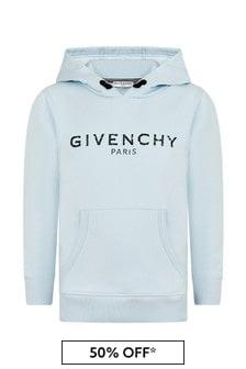 Givenchy Kids Boys Blue Cotton Blend Sweat Top