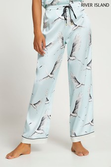 River Island Blue Light Bird Print pyjama Trouser