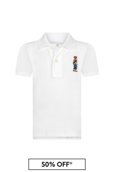 Ralph Lauren Kids Baby Boys White Piqué Polo Shirt