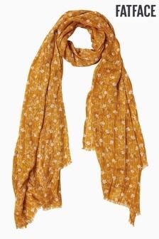 FatFace Yellow Trellis Floral Sequin Scarf