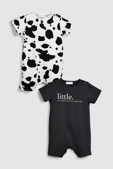 Slogan And Print Crop Rompers Two Pack (0mths-2yrs)