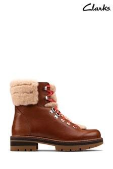Clarks Dark Tan Lea Orianna Hiker Boots