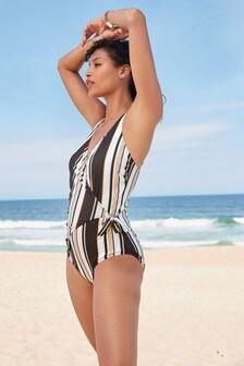 Stripe Wrap Swimsuit