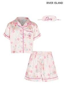 River Island Pink Unicorn Satin Boxed Pyjamas
