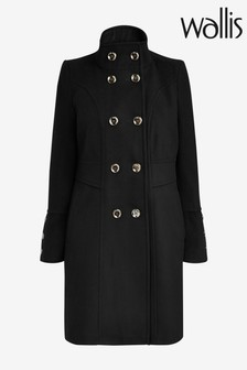 Wallis Black Faux Wool Double Breasted Funnel Coat