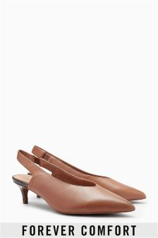 Leather Kitten Heel Slingbacks