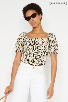 Warehouse Natural Leopard Print Square Neck Top