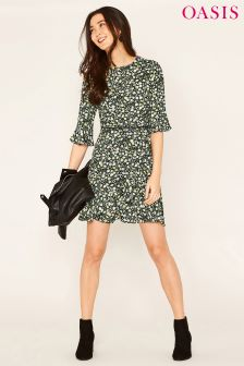 Oasis Black Ditsy Viscose Tea Dress