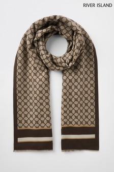 River Island Brown Classic Monogram Lightweight Scarf