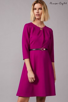 Phase Eight Purple Romina Belted Swing Ponte Dress