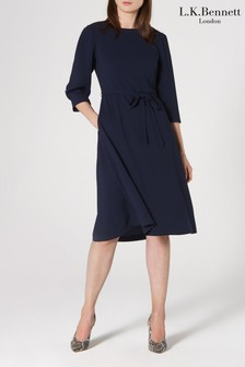L.K. Bennett Blue Iris Crepe Pleat Sleeve Dress