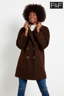 F&F Chocolate Bouclé Snit Coat
