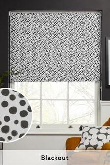 Dotty Black/White Print Blackout Roller Blind
