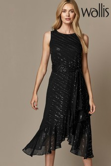 Wallis Black Twinkle Midi Fit & Flare Dress