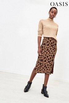 Oasis Natural Josephine Cosy Midi Skirt