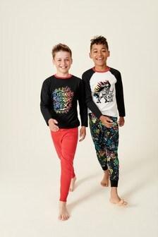 2 Pack Dino Splatter Print Pyjamas (3-16yrs)