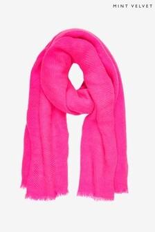 Mint Velvet Pink Textured Scarf