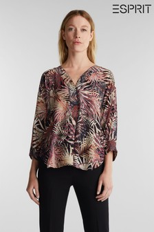 Esprit Black Woven With Print Short Sleeved Silky Touch Viscose Blouse